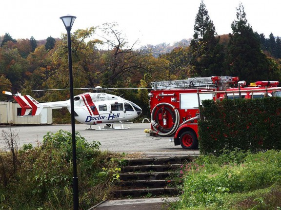 ドクターヘリと消防の連携は敏速だ