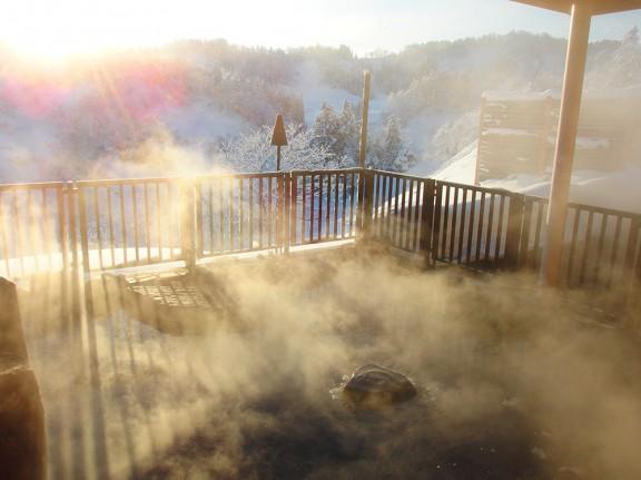 今朝の露天風呂
