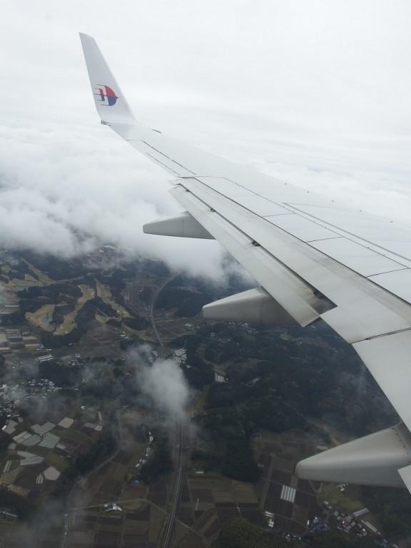 成田到着間近の機内